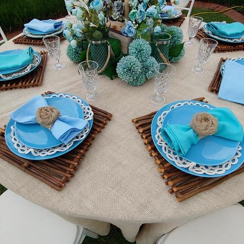 blue wedding settings