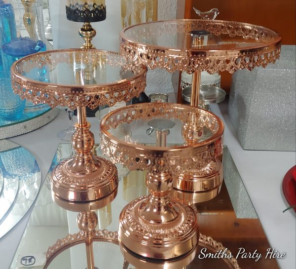 Rose gold cake stands Boksburg
