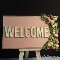 Rose gold welcome board