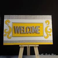 Yellow welcome boards