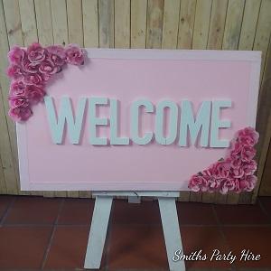 Welcome board pink Boksburg