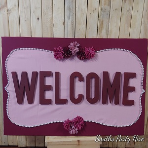 Welcome board burgundy Boksburg