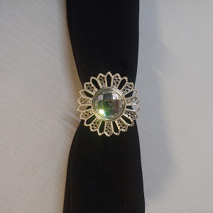 Napkin ring silver diamond