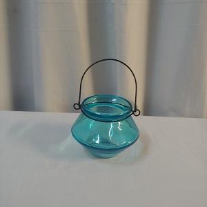 Turq blue glass lantern small
