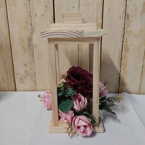 Wooden lantern burgundy & pink