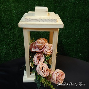 Wooden lantern rose gold