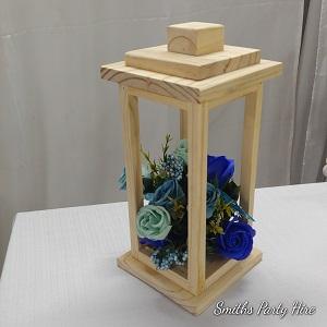 Wooden lantern royal blue
