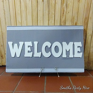 Welcome board grey