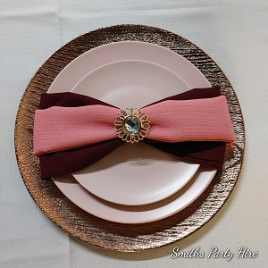 Maroon table setting