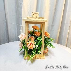 Wooden lantern rose gold