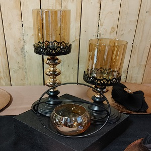 Gold & black candle stands