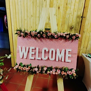 Dusty pink welcome board