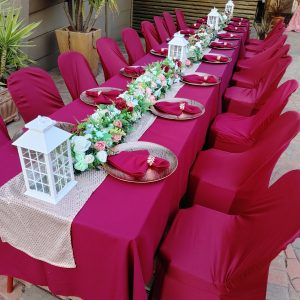 Burgundy table settings for weddings
