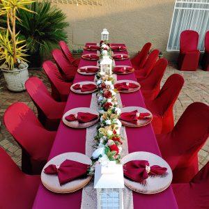 Burgundy table decor for weddings